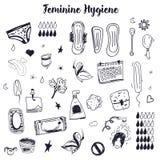 Sketch Feminine hygiene big set with tampon, menstrual cup, soap, sanitary napkin. Modern black line vector illustration Stock Photos