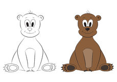Sketch and figure of an cartoon bear Stock Photo