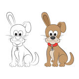Sketch and figure of an cartoon dog Stock Photography
