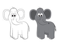 Sketch and figure of an cartoon elephant. It is possible to use in illustrations for childrens books, magazines and production Stock Photography