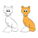 Sketch and figure of an cartoon fox Royalty Free Stock Photography