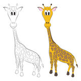Sketch and figure of an cartoon giraffe Royalty Free Stock Images