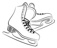 Sketch of the figured skates. Sketch of the sports figured skates Royalty Free Stock Image