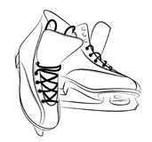 Sketch of the figured skates. Sketch of the sports figured skates Royalty Free Stock Images