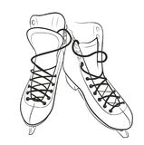 Sketch of the figured skates. Sketch of the sports figured skates Stock Image