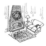 Sketch -Fireplace Christmas. Sketch -Fireplace stone, furniture, sofa, rug, candles Royalty Free Stock Image