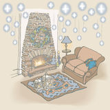 Sketch -Fireplace stone Christmas. Sketch -Fireplace stone, furniture, sofa, rug, candles Royalty Free Stock Photo