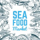 Sketch fish and seafood background. Hand drawn oysters lobster fish food. Seafoods menu vector template vector illustration