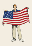 Sketch Flag Bearer Colour. Sketch illustration of a male figure holding the flag of USA Royalty Free Stock Photo