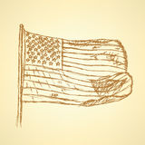 Sketch flag of USA, vector background Royalty Free Stock Images