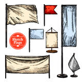 Sketch Flags Set Royalty Free Stock Photos