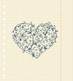 Sketch of floral heart ornament on notebook sheet. Illustration Stock Photo