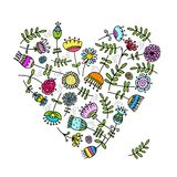 Sketch of floral heart for your design Royalty Free Stock Photos