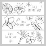 Sketch Floral Internet Shop Horizontal Banners Royalty Free Stock Images