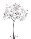 Sketch of a floral tree. With butterflies Royalty Free Stock Photo