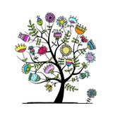 Sketch of floral tree for your design Stock Images