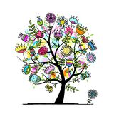 Sketch of floral tree for your design Royalty Free Stock Images