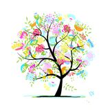 Sketch of floral tree for your design Stock Photos