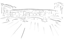 Sketch of the Florence Old Bridge. Illustration representing one of the most famous place of Florence, the Old Bridge in a stylized version. An idea that can be Royalty Free Stock Photos
