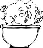 Sketch flower room in a flowerpot Royalty Free Stock Photos