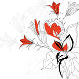 Sketch with flowers Royalty Free Stock Photography