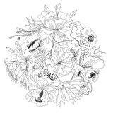 Sketch with flowers. Universal template for greeting card, web page, background Royalty Free Stock Photography