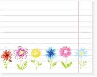 Sketch flowers on exercise book sheet. Vector Royalty Free Stock Images