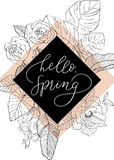 Sketch flowers with hand writing phrase in rhombus. Sketch flowers with hand writing phrase hello spring in rhombus Stock Photography