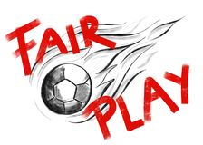 Sketch of a flying ball with message fair play stock illustration