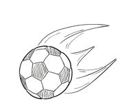 Sketch of the flying football ball with flames Stock Photos