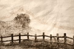 Sketch of a Foggy Morning on the Summer Lake royalty free illustration