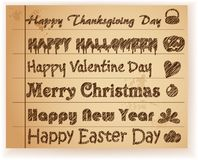 Sketch Font holiday greeting on paper Stock Images