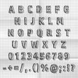 Sketch font set on paper abc sign, Vector illustration Royalty Free Stock Photography