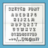 Sketch font set on paper abc sign, Vector illustration. Sketch font set on paper abc sign, Vector Stock Photo