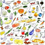 Sketch of foods, utensils and kitchen equipment Royalty Free Stock Photography