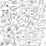 Sketch of foods, utensils and kitchen equipment