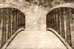 Sketch of a Foot Bridge. Sketch of a Descending Foot Bridge vector illustration