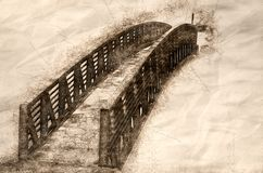 Sketch of a Foot Bridge Across The Water stock illustration