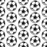 Sketch football ball, vector seamless pattern Royalty Free Stock Image