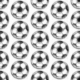 Sketch football ball, vector seamless pattern Royalty Free Stock Image