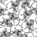Sketch football helmet,   seamless pattern Royalty Free Stock Photos
