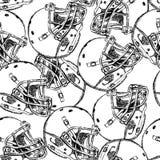 Sketch football helmet,   seamless pattern Royalty Free Stock Photos