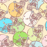 Sketch football helmet, vector  seamless pattern Stock Photo