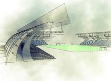 Sketch football sstadium Stock Image