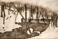 Sketch of a Footbridge Over A Winter Creek. Sketch of a Footbridge Over A Snowy Winter Creek vector illustration
