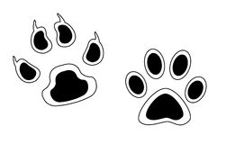 Sketch footprints of animals with claws and Stock Images