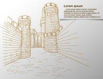 Sketch of fortress outline. stock illustration