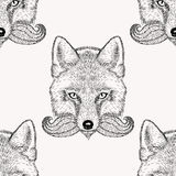 Sketch fox with a beard and moustache. Hand drawn Royalty Free Stock Photos