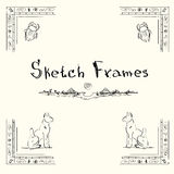 Sketch Frame Collection Hand Draw Vintage Stock Images