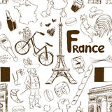 Sketch France seamless pattern vector illustration